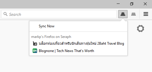 Firefox 45 Synced Tabs Button